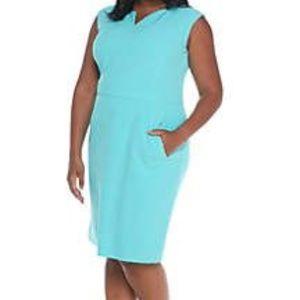 NWT Kasper 14W Aqua Green Dress